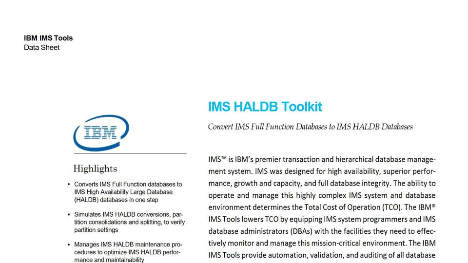 IMS High Availability Large Database Toolkit for z/OS