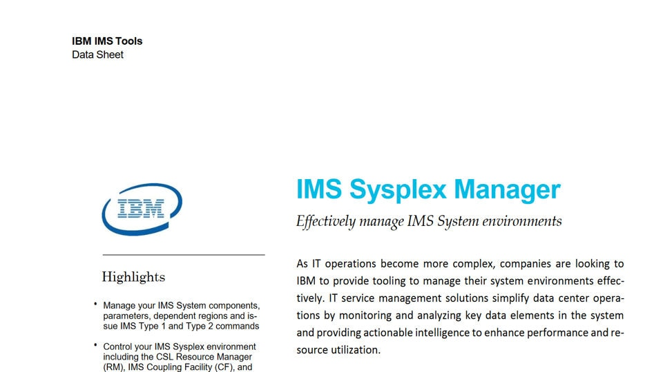 IMS Sysplex Manager for z/OS