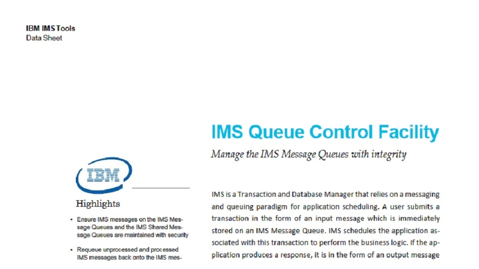 IMS Queue Control Facility for z/OS