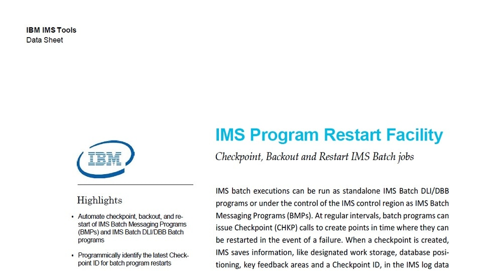 IMS Program Restart Facility for z/OS