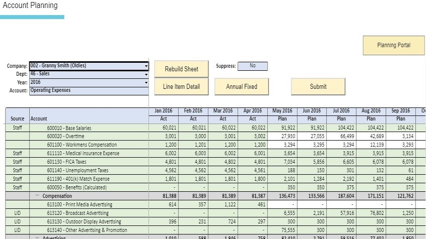 Account-level planning with automation to merge actuals with plan data