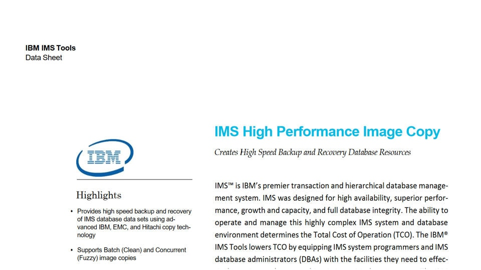 IMS High Performance Image Copy for z/OS