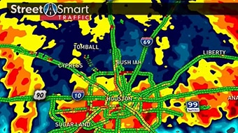 Demonstrating integrated weather and traffic with Max Traffic.