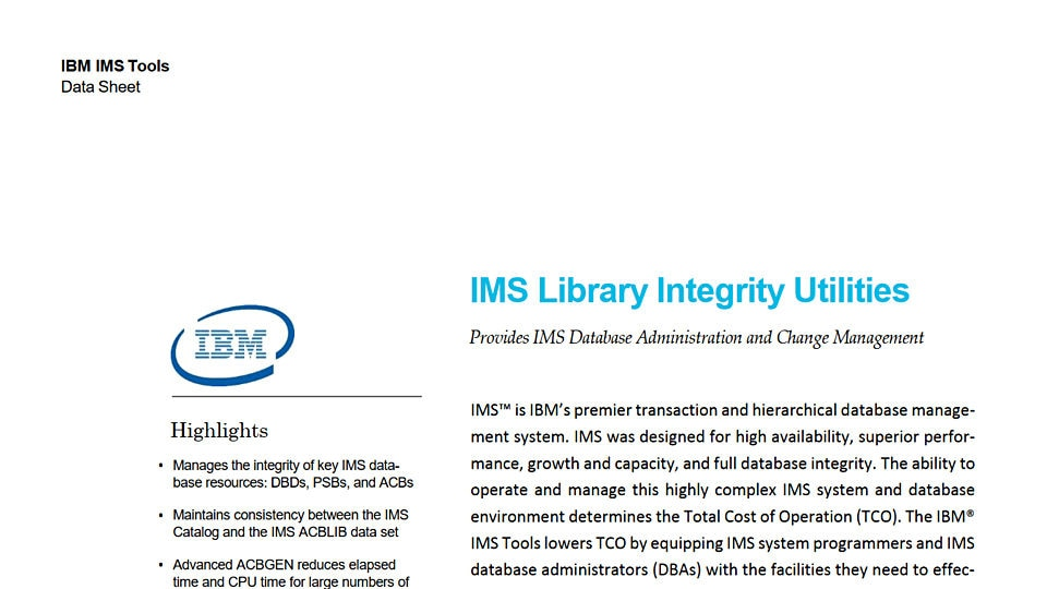 IMS Library Integrity Utilities for z/OS