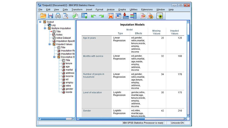 Imputation Models table output