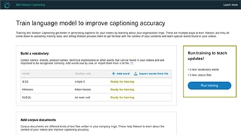 Watson Captioning Live Training UI