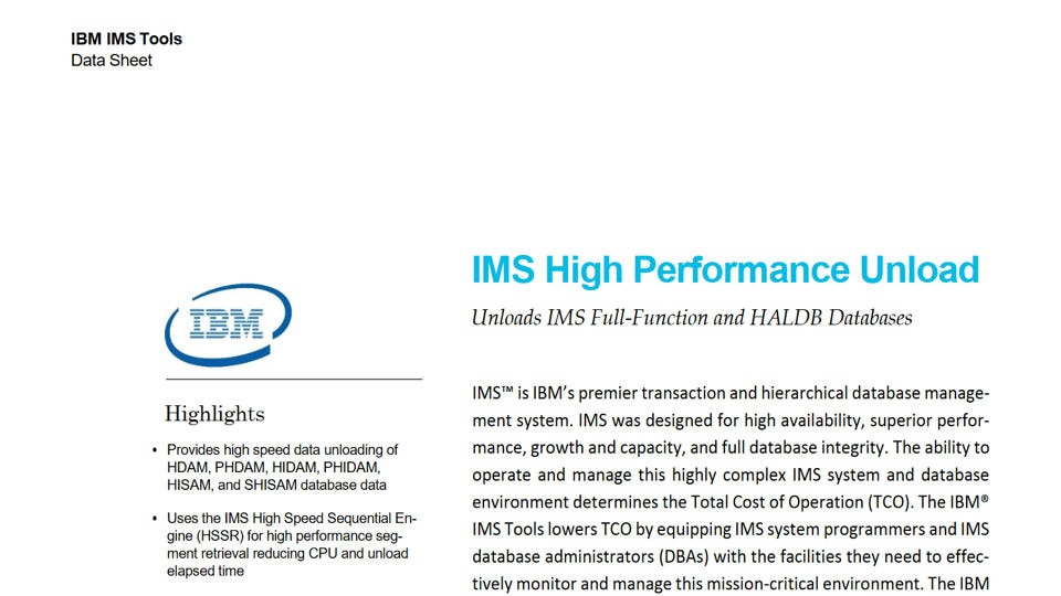 IMS High Performance Unload for z/OS