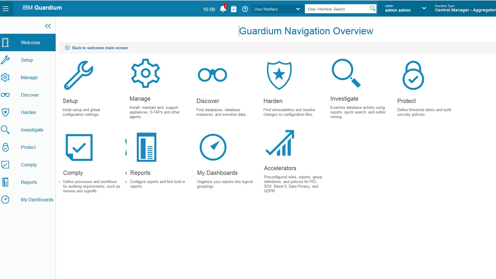 Guardium navigation overview