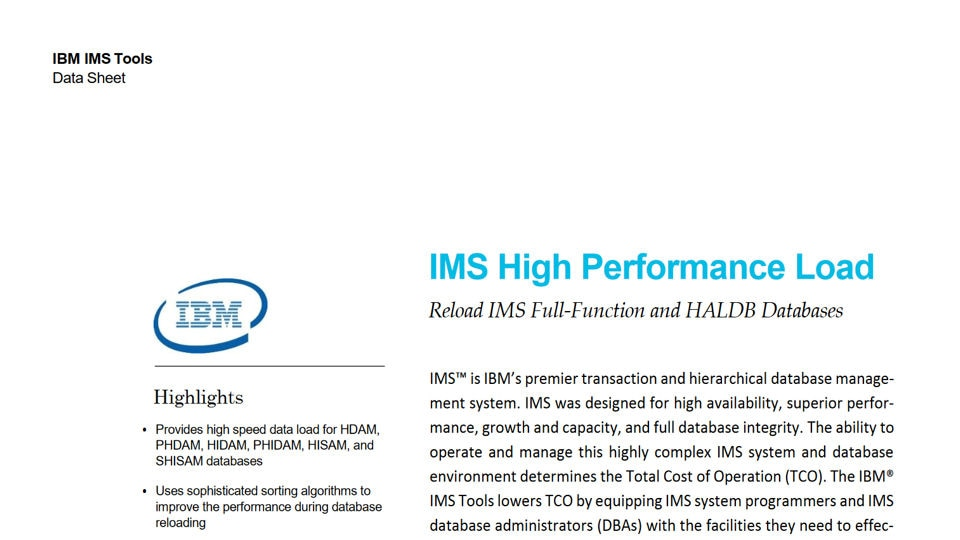 IMS High Performance Load for z/OS