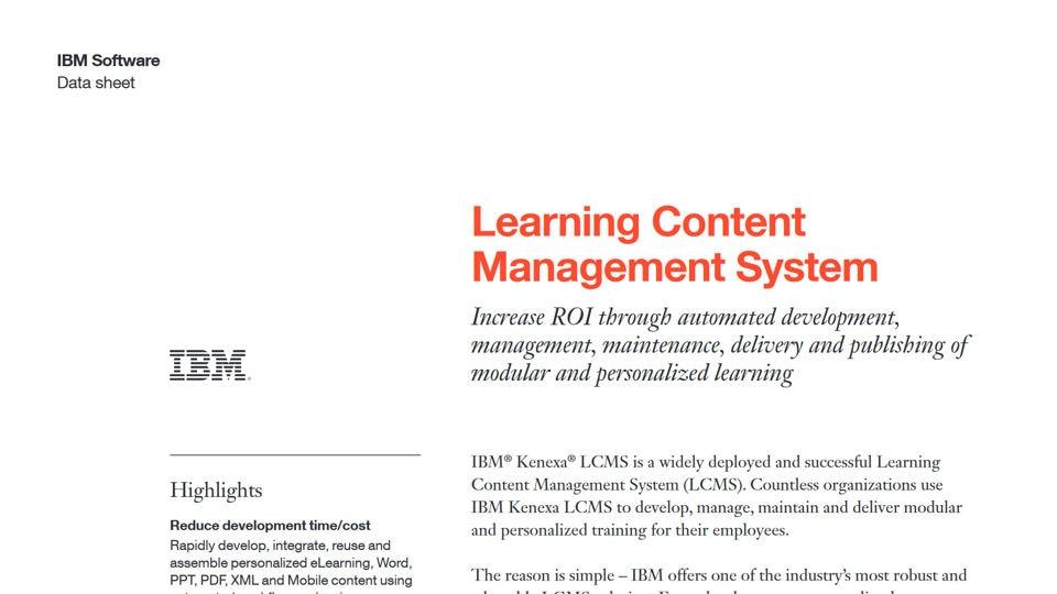 IBM Kenexa Learning Content Management System