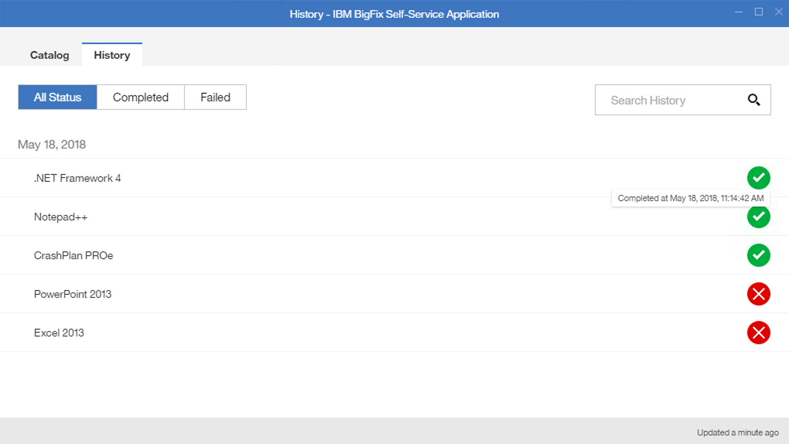 Self-service application admin actions