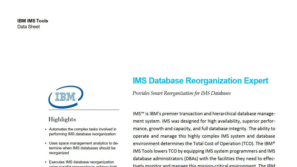 IMS Database Reorganization Expert for z/OS