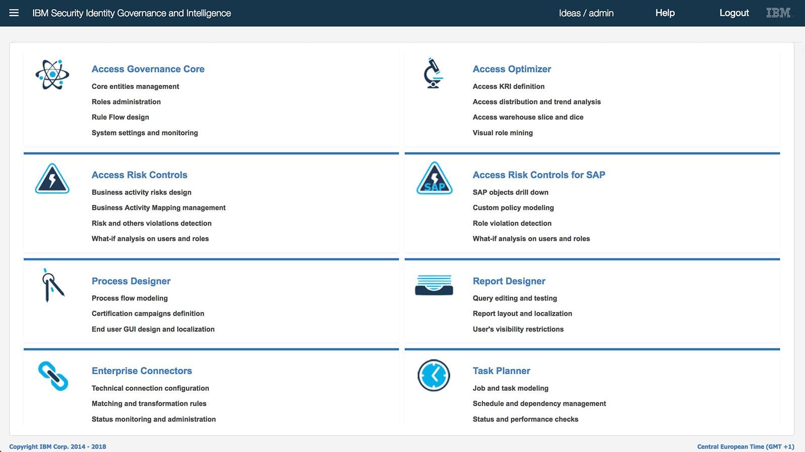 Homepage der Administratorkonsole
