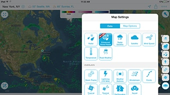Customizable data layers with weather alerts and traffic incidents