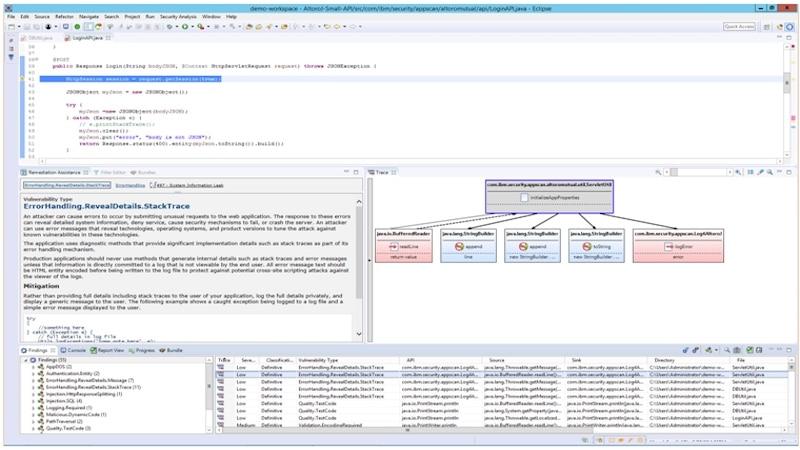 Finden Sie Bereiche von Anwendungssicherheitslücken im Code