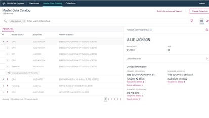Granular search capabilities across data records and entities